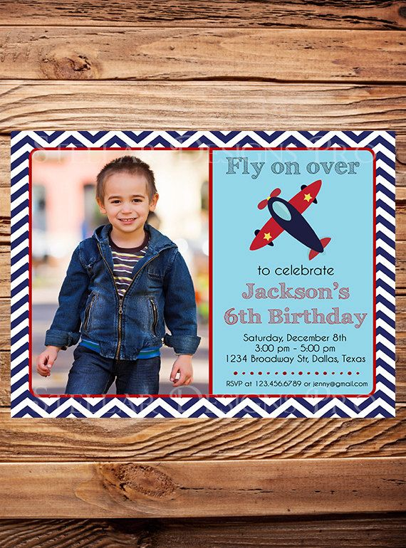 Airplane Birthday Invitation Photo birthday party Birthday Boy