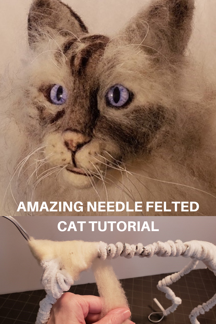 Needle Felted Maine Coon Cat. Advanced tutorial by artist, Nancy Sullivan #needlefeltedcat