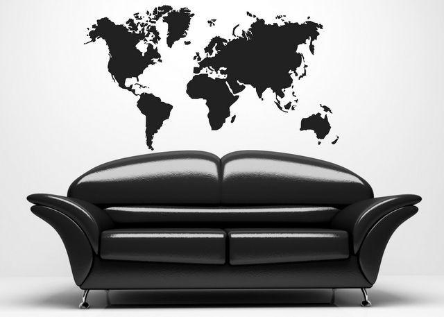 (119n) Nálepka na stenu - Mapa sveta | ARTSABLONY.SK