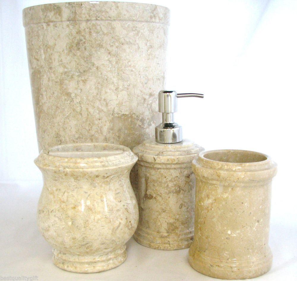 4pc Set Natural Stone Marble Soap Dispenser Toothbrush Tumbler