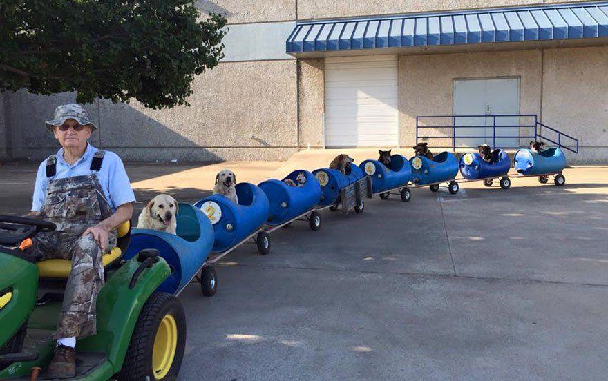 Eugene Bostick, um senhor de 80 anos que vive no Texas, nos Estados Unidos, teve uma ideia inusitada para passear com seus nove…