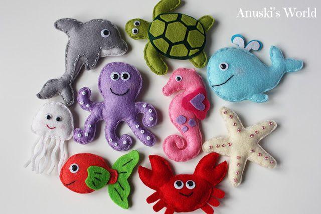 Animales marinos de fieltro