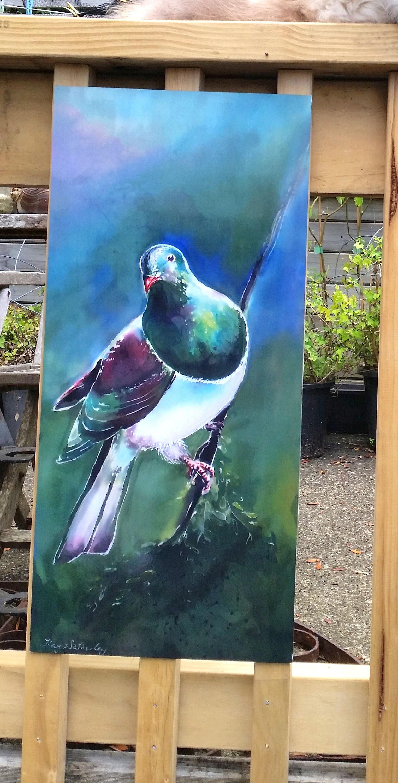 Outdoor Wall Art New Zealand Kereru Bird Native Wood Pigeon Panel From My Original Silk Painting Outside Art Garden Art Art Outdoor Art Outdoor Wall Art