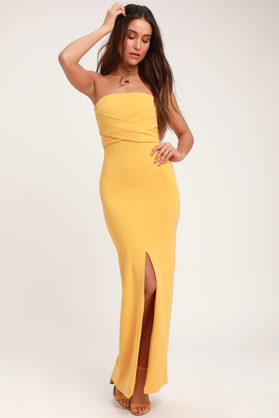 Own The Night Golden Yellow Strapless Maxi Dress Yellow Maxi Dress Cocktail Dress Yellow Womens Yellow Dress [ 1680 x 1120 Pixel ]