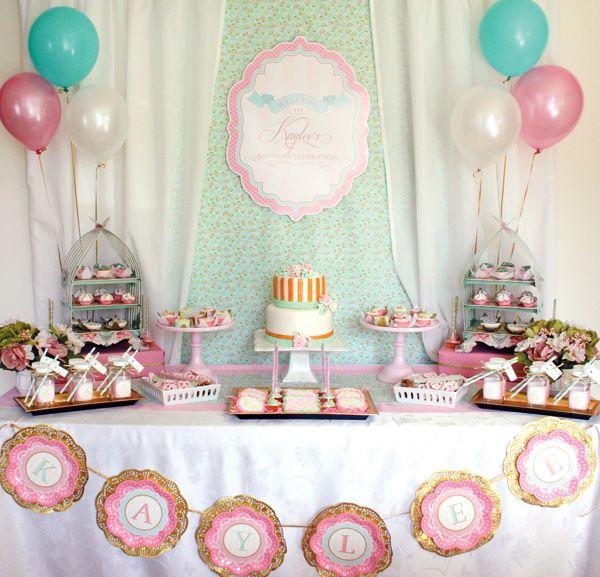 Elegant Shabby Chic Baptism Dessert Social Millie S Baby Shower