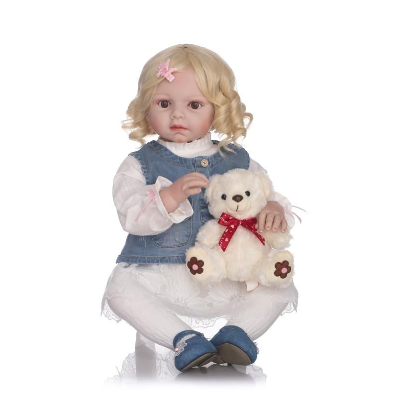 28 inch Lifelike Reborn Toddler Girl Dolls with Short Blonde Curly Hair 70cm High Grade Girls XMAS Birthday Gifts Clothes Model