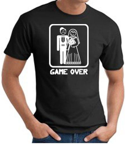 83c39025 GAME OVER Funny Novelty Marriage Bride And Groom T-shirt Tee Shirt - Black  Medium