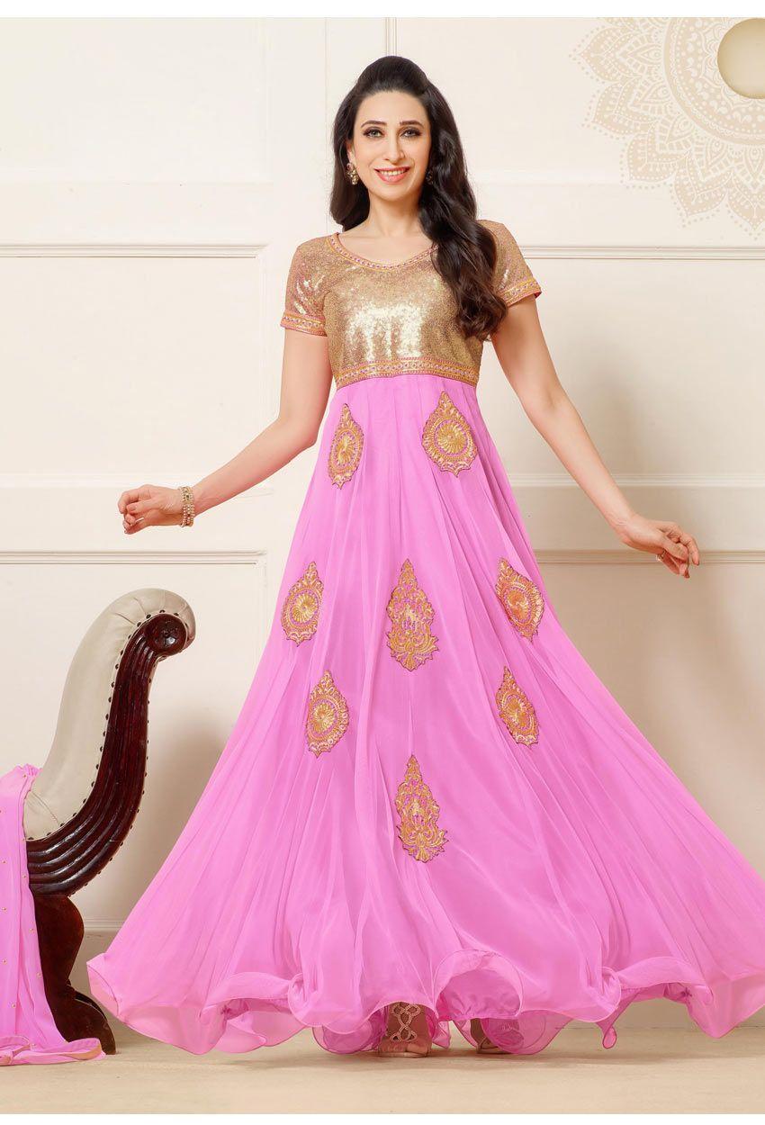 Semi #Stitched Pink,#Gold Net Long #Anarkali #Salwar #Suit #nikvik ...