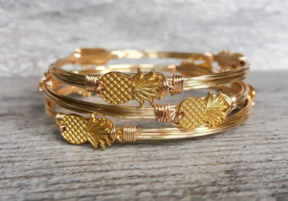 NEW Pina Colada Pineapple Wire Wrapped Bangle by SouthernWire