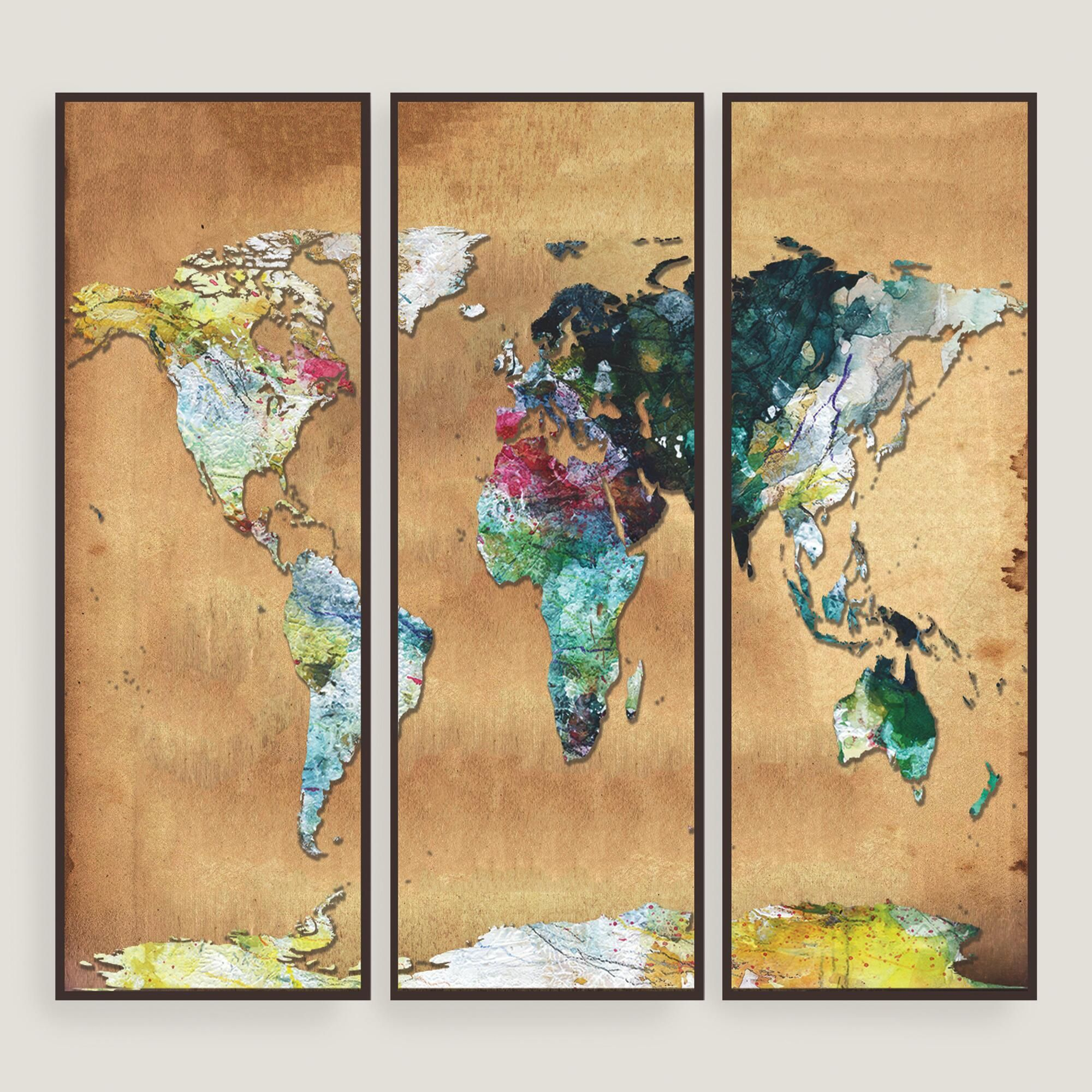 Watercolor Map Wall Art Set Of Three By World Market Home