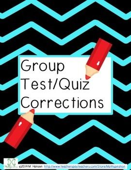 Test Corrections Activity  Formal Assessment Activities And