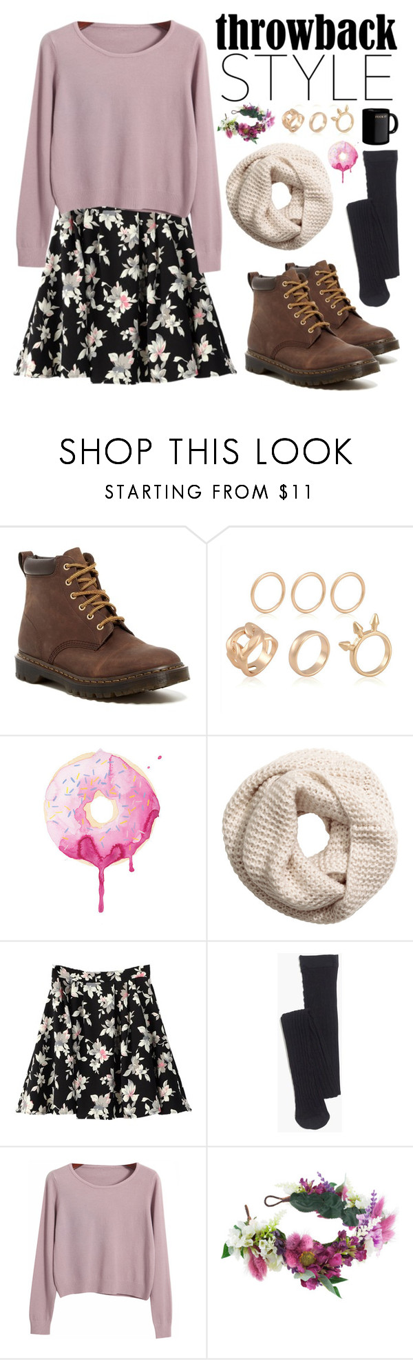 """""""Throwback Style: Dr. Martens"""" by nadiahirbah288 ❤ liked on Polyvore featuring Dr. Martens, H&M, Madewell, Chicnova Fashion and Rock 'N Rose"""