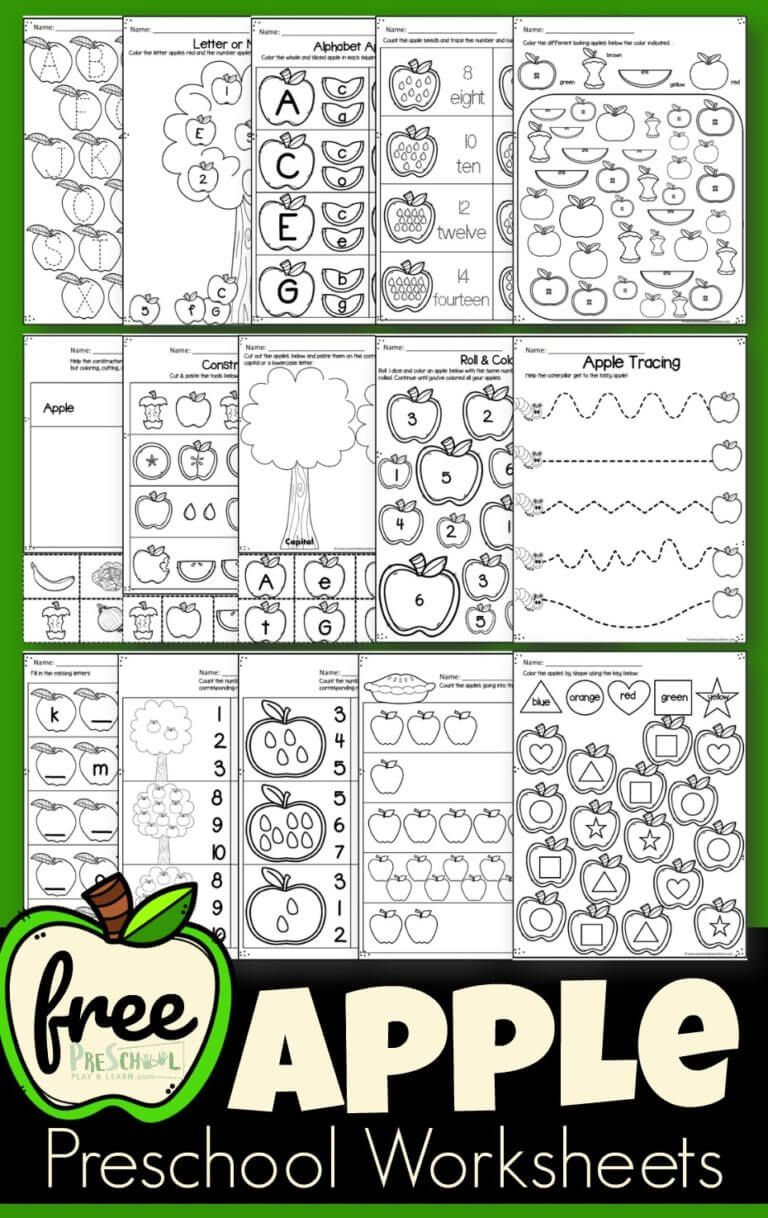 Free Apple Worksheets Super Cute Free Printable Preschool And Kindergarten Worksheets Free Preschool Printables Kindergarten Worksheets Preschool Worksheets [ 1218 x 768 Pixel ]