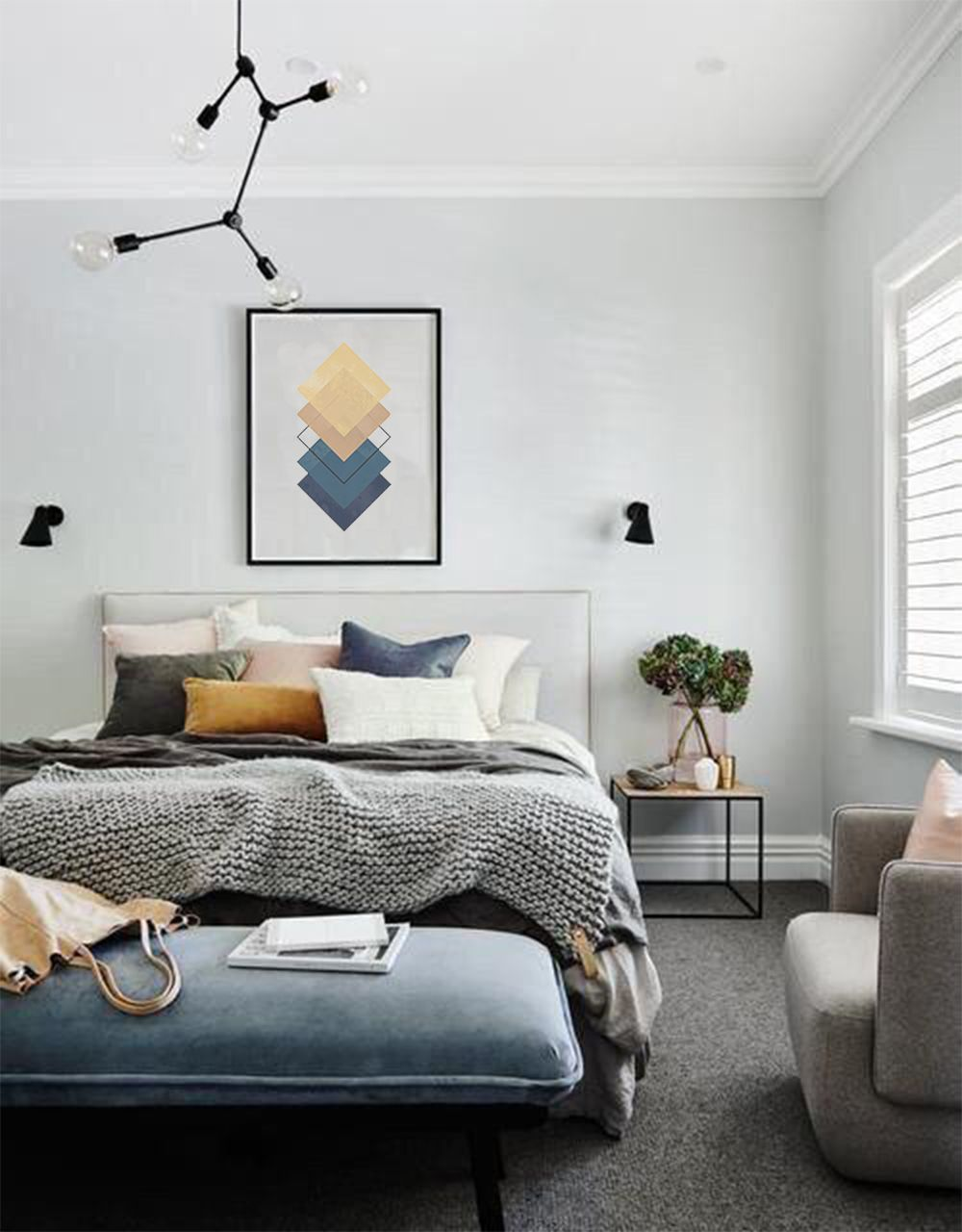 Minimalist Art Print Blue And Yellow Print Square Prints Etsy Grey Bedroom Design Bedroom Interior Home Decor Bedroom