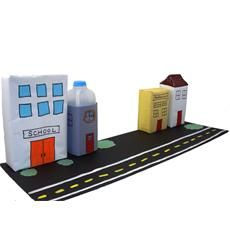 Create a cool 3D neighborhood using recycled materials!