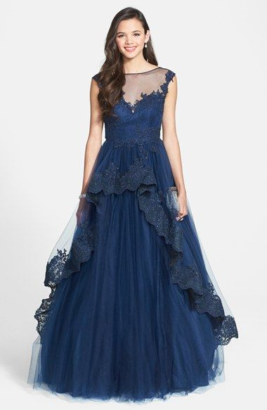 f506e940d0 Blue Vintage Style 1940s Prom Dress - Junior Women s Mac Duggal  The Blake   Lace Trim Overlay Ballgown