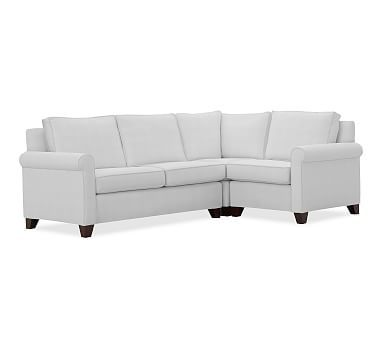 Cameron Roll Arm Upholstered Left Arm 3-Piece Corner Sectional, Polyester Wrapped Cushions, Performance Twill Warm White