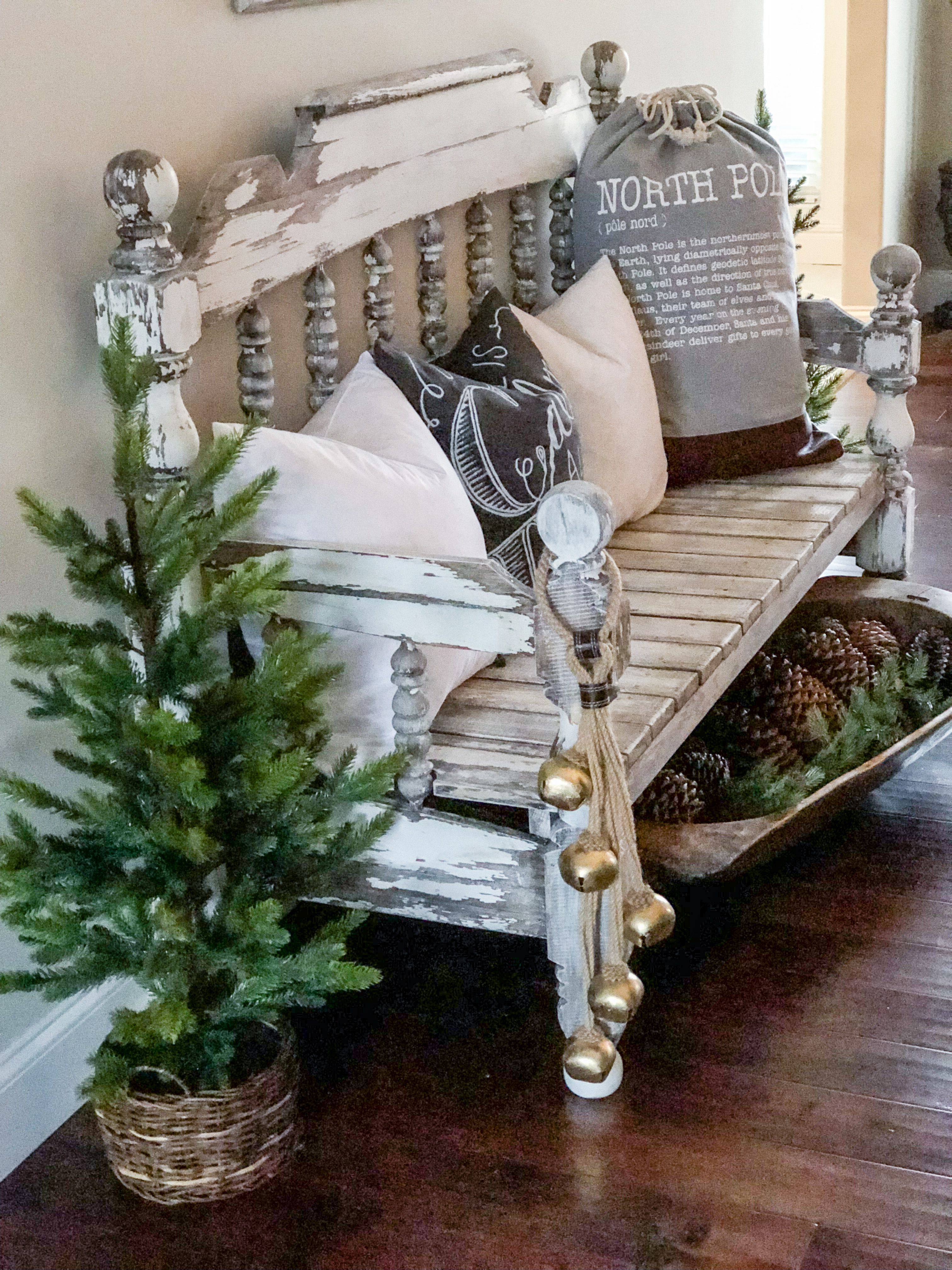 Bench Decorated For Christmas Christmas Entryway
