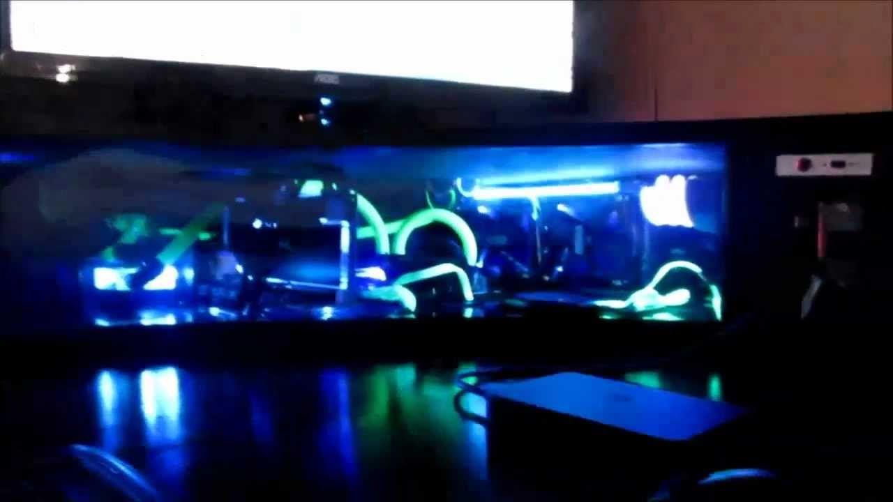 Best Custom Computer Desk Gaming Setup Liquid Cooled