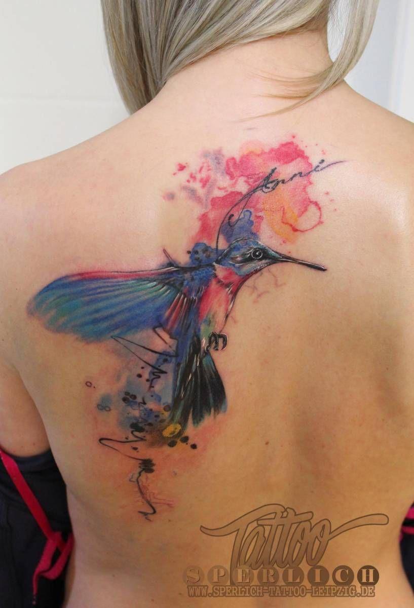 tattoo im aquarell stil tattoo kolibri tattoo. Black Bedroom Furniture Sets. Home Design Ideas
