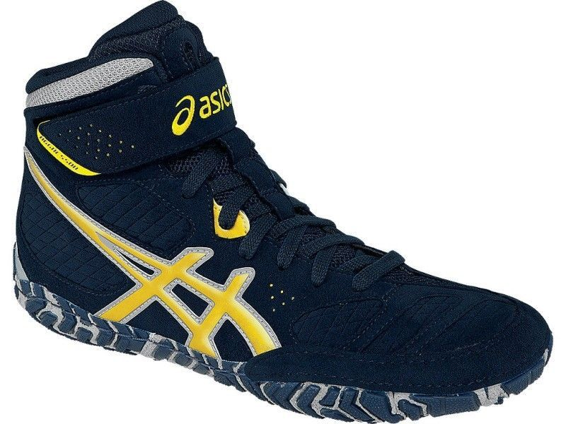 Footwear 79799: Asics Aggressor 2 Navy Sunflower Silver Wrestling Shoe ->  BUY IT NOW