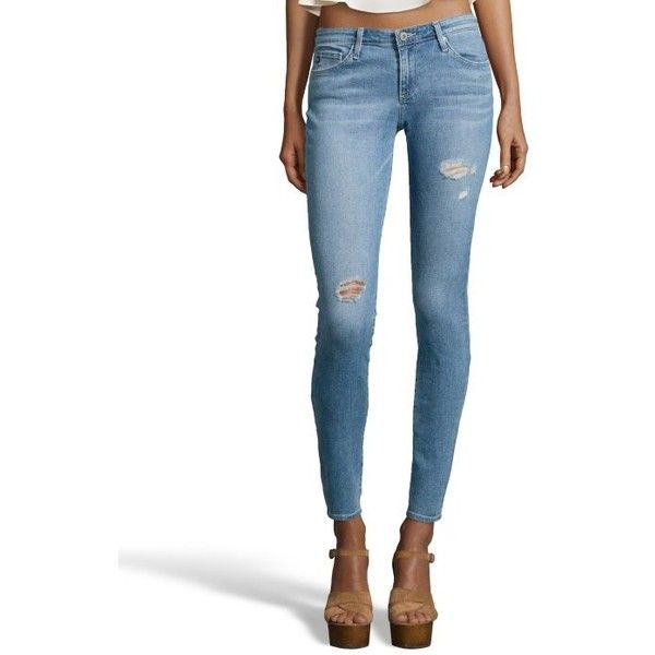 AG Jeans Bora stretch cotton distressed denim 'The Legging' skinny... ($45) ❤ liked on Polyvore featuring jeans, white ripped skinny jeans, white jeans, white destroyed jeans, destroyed skinny jeans and white super skinny jeans