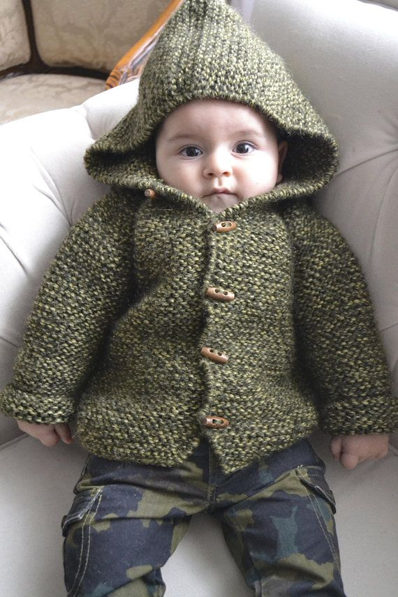 Photo of Hand Knitted Baby Boy %100 Wool Hoodie Cardigan/Jacket, Chunky, Duffel Coat, Green and Olive Green Marl