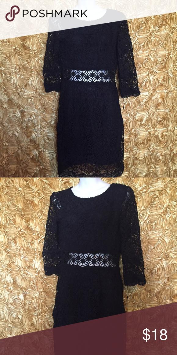 Medium dress Crocheted lace Little black dress Nwt  Zips up  Open ad mid drift Dresses