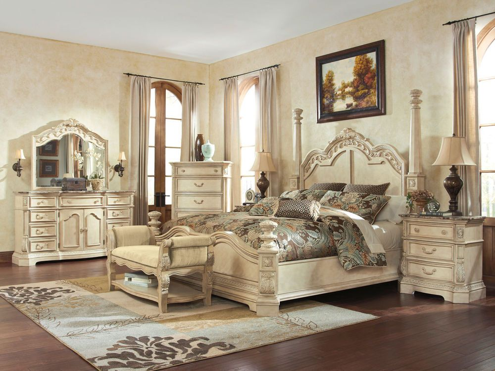 Caroline 5pcs traditional antique white queen king poster - White vintage bedroom furniture sets ...
