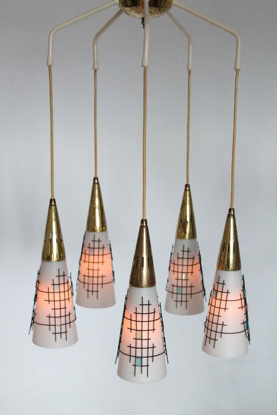 5 ARM PENDANT glass wire mesh brass mid by VINTAGELAMPDEN ...