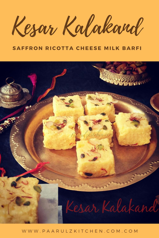Kesar Kalakand Saffron Ricotta Cheese Milk Barfi Paarul Z Kitchen Recipe In 2020 Cheese Ricotta Cheese Ricotta