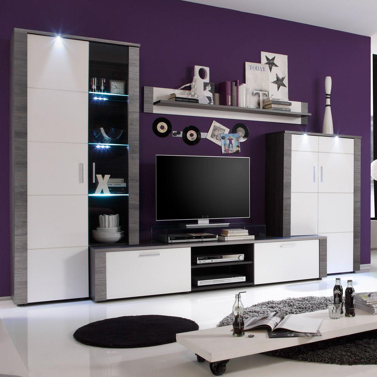 Wohnwand Wohnzimmer Anbauwand Xpress in Esche grau weiß mit ...