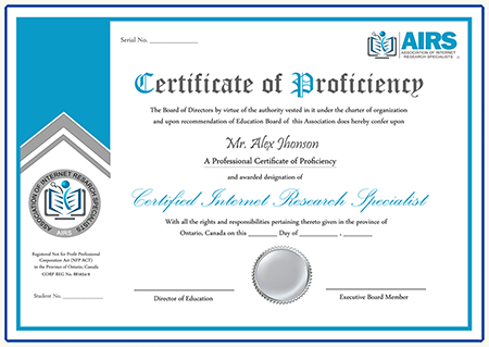 Certified Internet Research Specialist Cirs Certification Objectives Research Certificate Internet