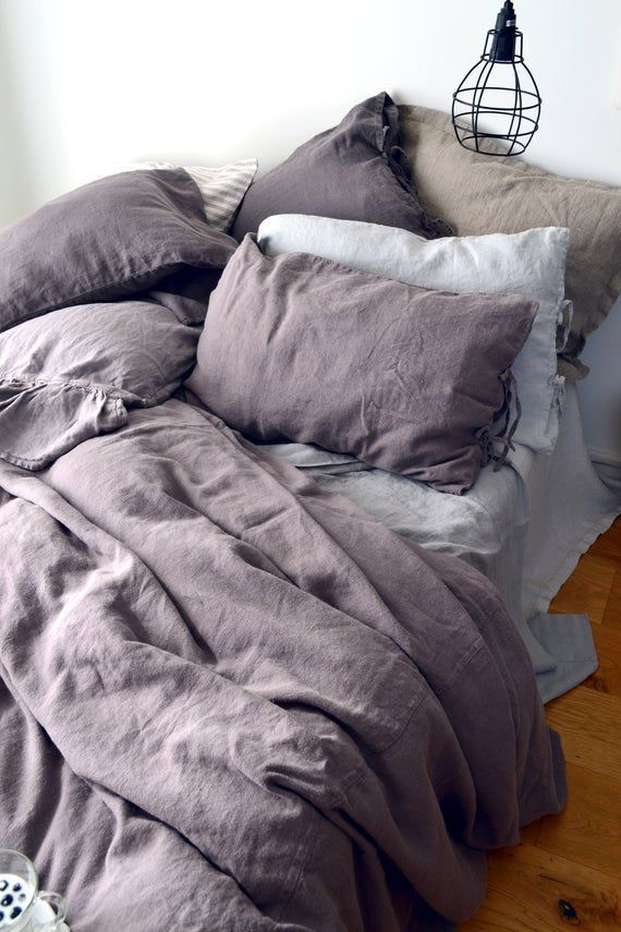 Photo of Blueberry Milk Heavy Weight linen duvet cover. Rustic Rough heavy weight stonewashed linen bedding