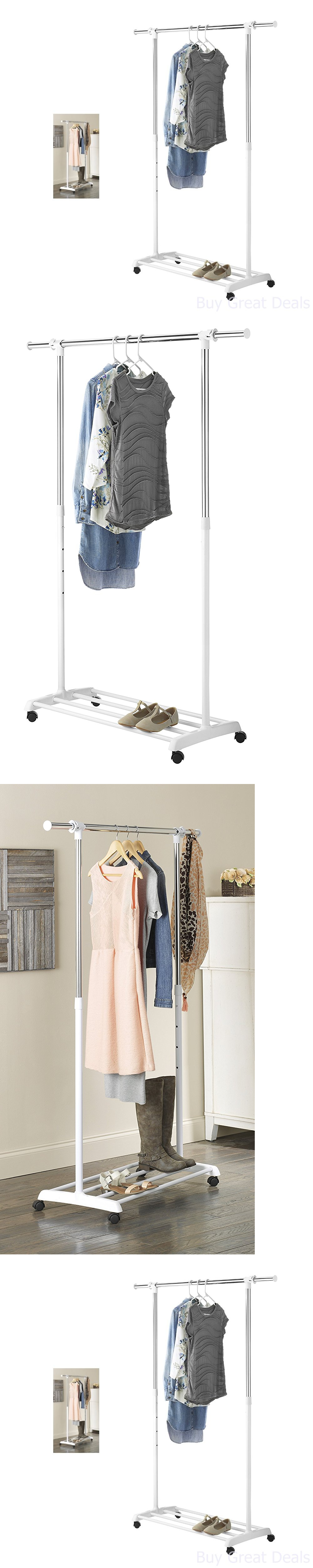 Captivating Garment Racks 166325: Whitmor Deluxe Adjustable Garment Rack, With Wheels  Adjustable Height New