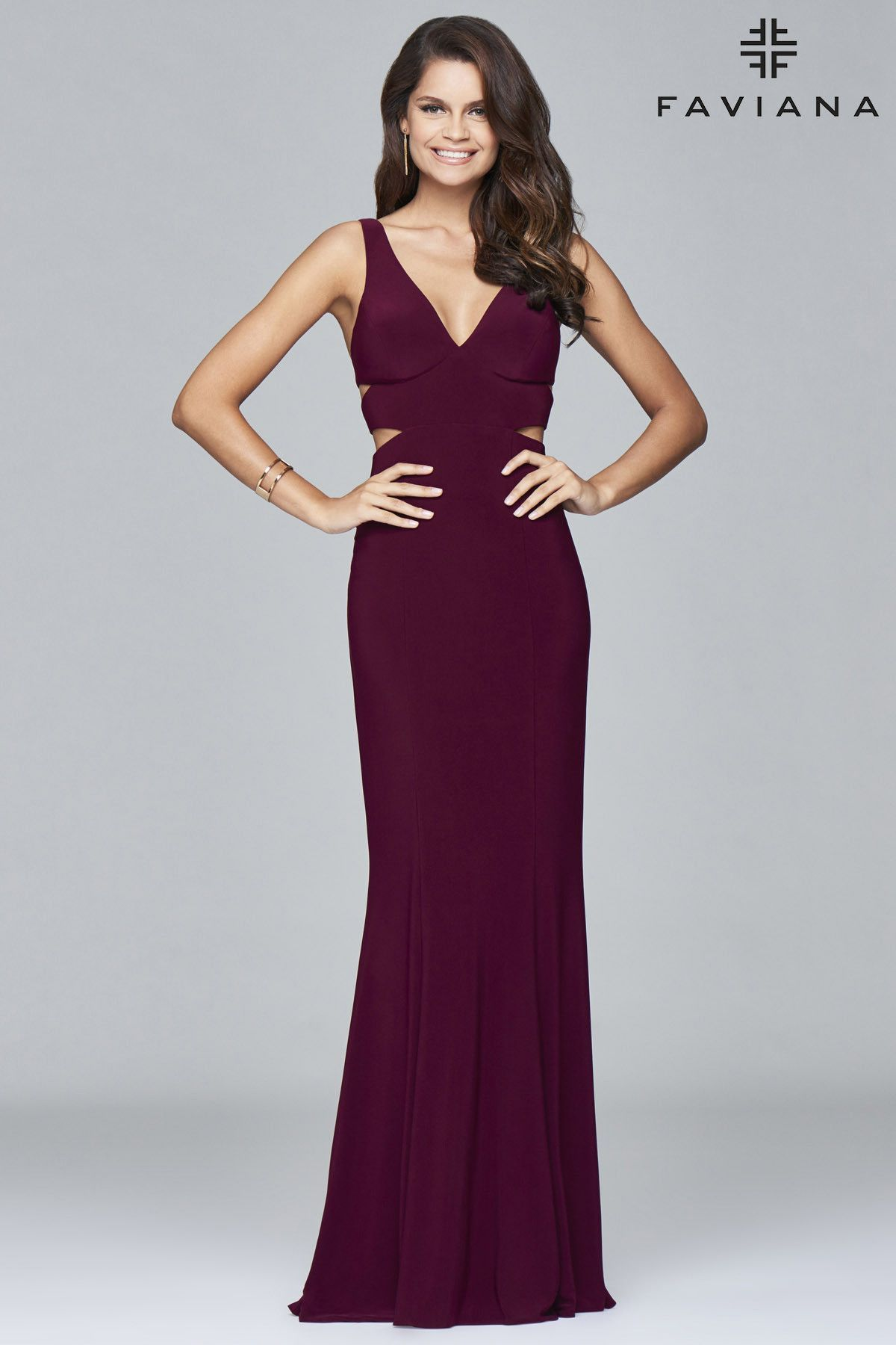 Faviana style jersey vneckline gown with cut out back prom