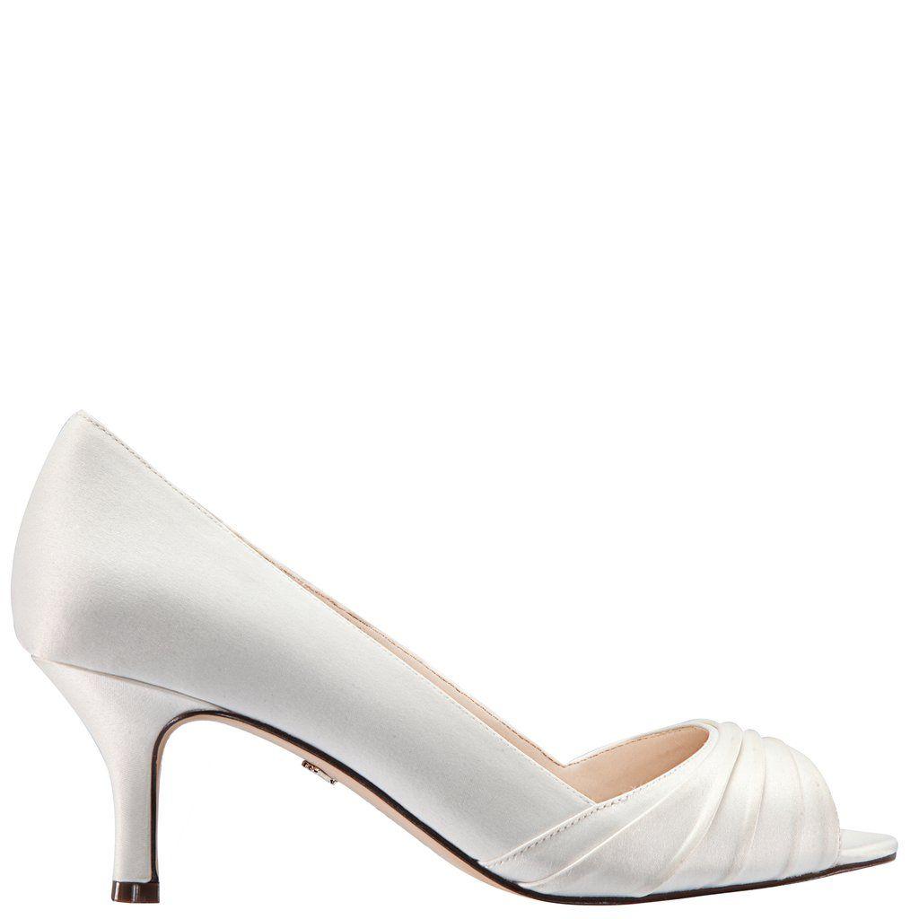 Chezare Ivory Satin Kitten Heel Wedding Shoes Bridal Shoes Low Heel Wedding Shoes Heels