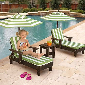 Children S Sun Lounger Set X 2 With Parasol Table Kids Fun In The
