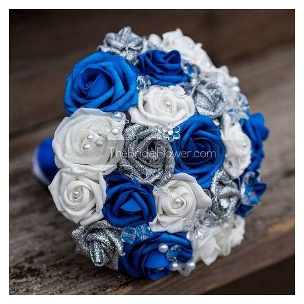Royal Blue And Silver Wedding Flowers: Royal Blue And Silver Wedding Bouquet With Crystals