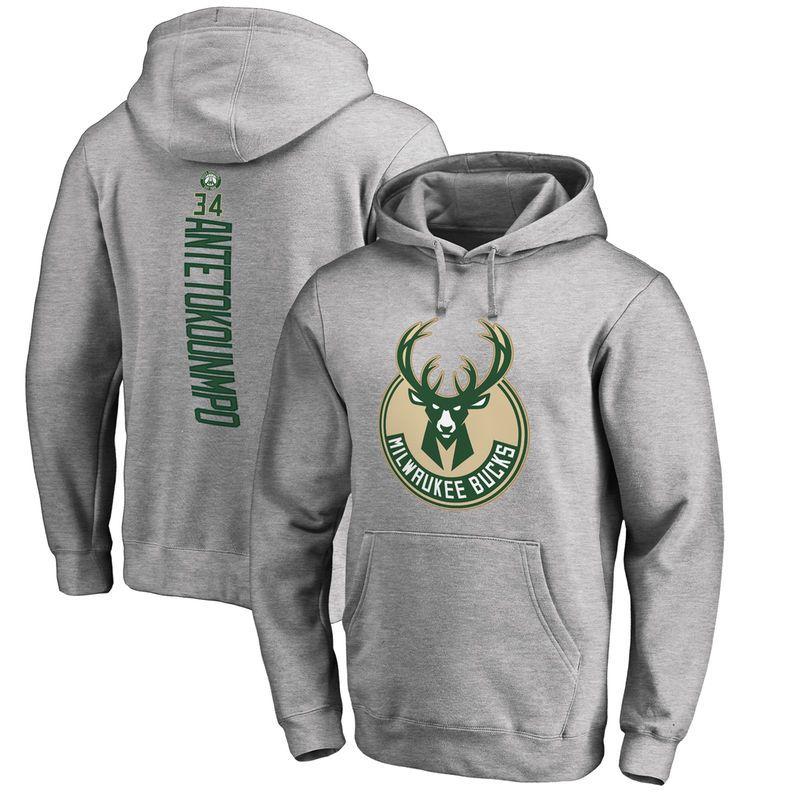 0b0d351ab54 Giannis Antetokounmpo Milwaukee Bucks Fanatics Branded Backer Pullover  Hoodie - Ash