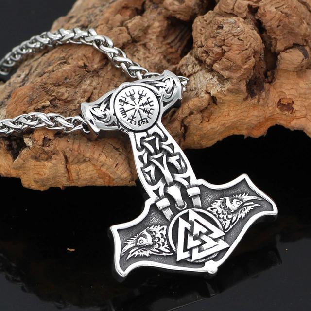 3D Ravens Head Odins Thor`s Hammer Viking Pendant Necklace Mjolnir Thor/'s Hammer
