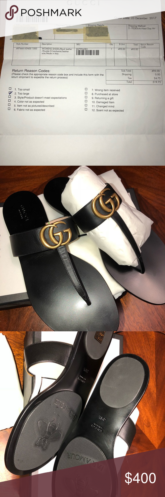 6f92399a16b Gucci Sandals The leather thong sandal is embellished with the Double G  hardware (narrow fit) Gucci Shoes Sandals