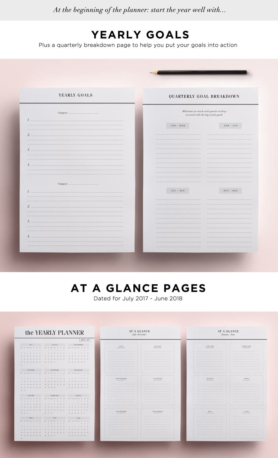 2017 2018 academic planner printable inserts mid year diary yearly
