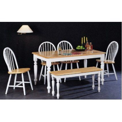 Country farmhouse 6 piece dining set by coaster furniture