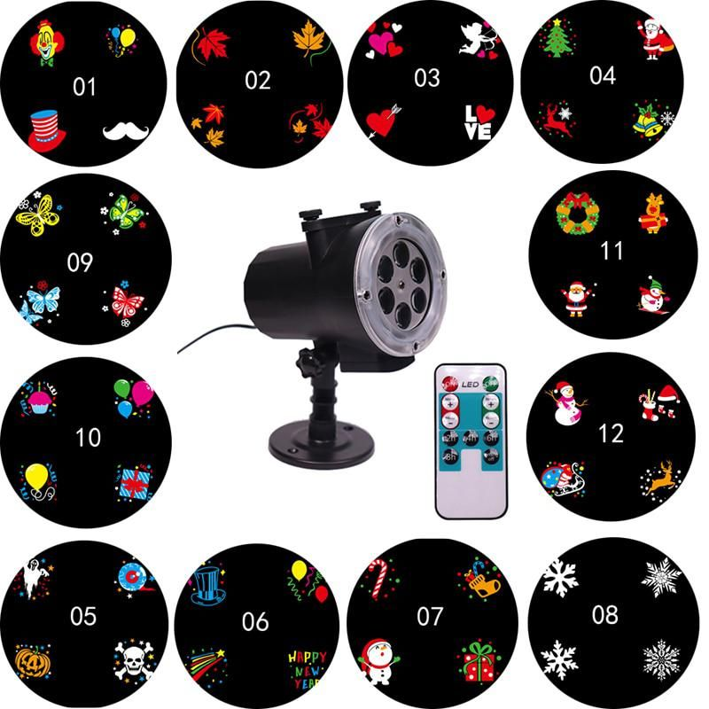 Christmas Lights Outdoor Waterproof 12 Pattern Projector Lamp Led Garden Projection Light With Remote Control Eu Us Au Uk Plug Yes Stage Lighting Led Stage Lights Holiday Lights
