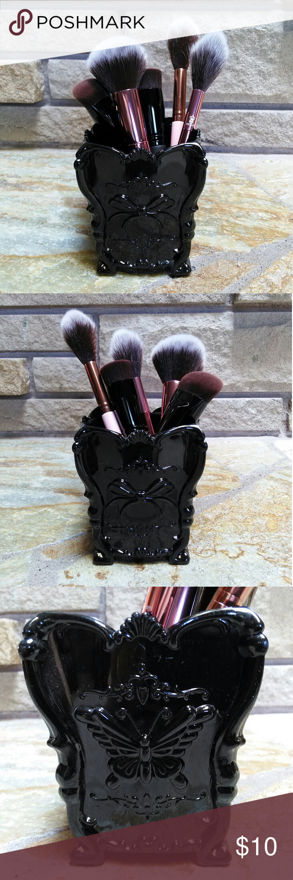 Black Gothic butterfly bow makeup brush holder Makeup