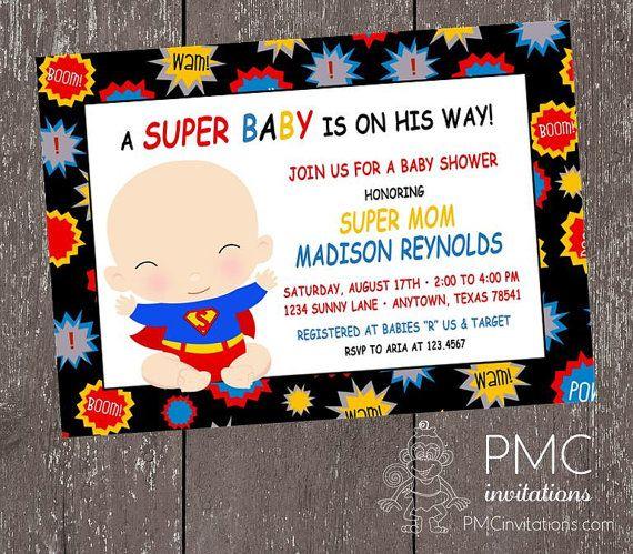 superhero baby shower invitations 1.00 each by papermonkeycompany, Baby shower invitations