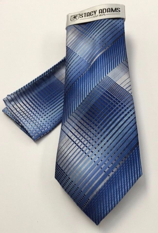 Stacy Adams Tie & Hanky Set Navy, Powder, Royal Blue, Charcoal Gray & Gray Men's #StacyAdams #Tie