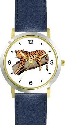 38% Off was $79.95, now is $49.95! Leopard Cat - WATCHBUDDY DELUXE TWO-TONE THEME WATCH - Arabic Numbers - Blue Leather Strap-Children`s Size-Small...