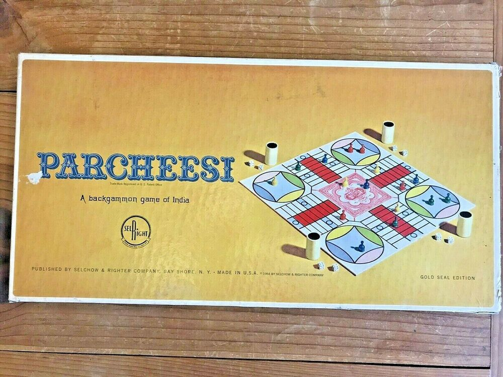 Vintage Parcheesi Gold Seal Edition Wooden Pieces Selchow